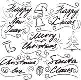 Het vastgestelde Kerstmis van letters voorzien stock fotografie