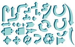 Het vastgestelde malplaatje van het pijlpictogram Stock Fotografie
