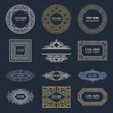 Het vastgestelde malplaatje van Luxeemblemen bloeit kalligrafisch Royalty-vrije Stock Foto's