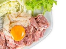 Het vastgestelde menu van het Sukiyakirundvlees, Hete pot, Shabu Stock Foto's