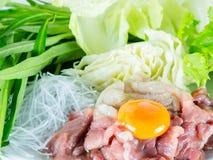 Het vastgestelde menu van het Sukiyakirundvlees, Hete pot, Shabu Royalty-vrije Stock Foto