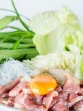Het vastgestelde menu van het Sukiyakirundvlees, Hete pot, Shabu Royalty-vrije Stock Foto's