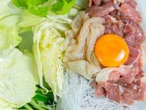 Het vastgestelde menu van het Sukiyakirundvlees, Hete pot, Shabu Royalty-vrije Stock Afbeeldingen
