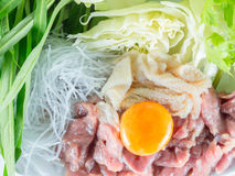 Het vastgestelde menu van het Sukiyakirundvlees, Hete pot, Shabu Stock Afbeeldingen