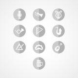 Het vastgestelde muzikale pictogram van het instrumentenweb Royalty-vrije Stock Foto