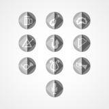 Het vastgestelde muzikale pictogram van het instrumentenweb Stock Fotografie