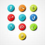 Het vastgestelde muzikale pictogram van het instrumentenweb Stock Foto