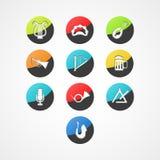 Het vastgestelde muzikale pictogram van het instrumentenweb Stock Afbeeldingen