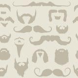 Het vastgestelde naadloze patroon van de snor en van de baard Royalty-vrije Stock Afbeeldingen