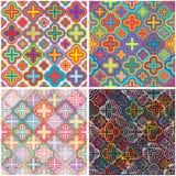 Het vastgestelde naadloze patroon van de vier bloemkleur stock illustratie