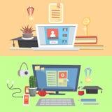 Het vastgestelde onderwijs, online onderwijs die, online, leert te denken leren vector illustratie