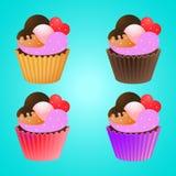 Het vastgestelde ontwerp van de Cupcakeaffiche vector illustratie