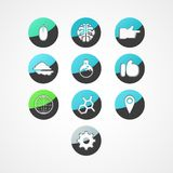 Het vastgestelde pictogram van het conceptenweb Stock Foto's