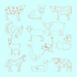 Het vastgestelde pictogram van landbouwbedrijfdieren Stock Afbeeldingen