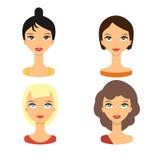 Het vastgestelde pictogram van mensengezichten - vectorvoorraad Avatar van de schoonheidsvrouw Stock Afbeeldingen