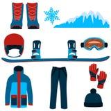 Het vastgestelde snowboarding Stock Afbeelding