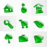Het vastgestelde symbool van de de knoopkleur van glaspictogrammen Stock Afbeeldingen