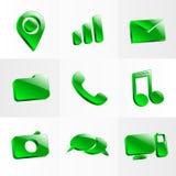 Het vastgestelde symbool van de de knoopkleur van glaspictogrammen Stock Foto
