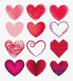 Het vastgestelde symbool van de hartenvorm van liefde en hartstocht stock illustratie