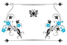 Het vastgestelde uitstekende ornament met vergeet me niet bloemen, kader en decoratieve verdeler voor groetkaart vector illustratie