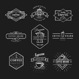 Het vastgestelde van het het etiketbord van het koffieembleem uitstekende vectormalplaatje Stock Foto
