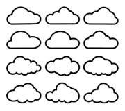 Het vastgestelde zwarte wit van wolkenpictogrammen vector illustratie