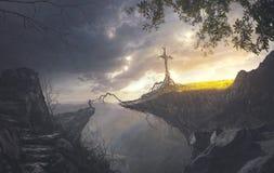 Het vastklampen zich aan het kruis stock fotografie