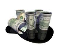 Het vat in de vorm van een dollar, met olie wordt gevuld die Royalty-vrije Stock Afbeelding