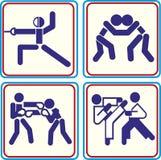 Het vechten, het worstelen vechtsporten en in dozen doende pictogrammen Vectorpictogrammen voor digitale en drukprojecten Royalty-vrije Stock Fotografie