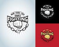 Het vechten t-shirtontwerp, logotype, in dozen doend zwart-wit etiket, kenteken, embleem voor hipstervlieger, affiche of t-shirtd vector illustratie