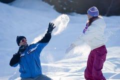 Het vechten van de sneeuw Stock Fotografie