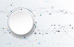 Het vector Abstracte futuristische, 3d etiket van de Witboekcirkel en kringsraad Royalty-vrije Stock Foto