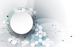 Het vector Abstracte futuristische, 3d etiket van de Witboekcirkel met kringsraad Royalty-vrije Stock Afbeelding