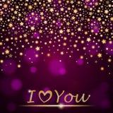 Het vector abstracte het glanzen vallen speelt op violette omringende vage achtergrond I liefde mee u Stock Afbeeldingen