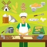 Het vector Art Infographicsonderwijs Beroep van de bakkerskok royalty-vrije illustratie
