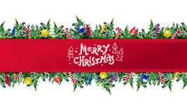 Het vector artistieke naadloze pakketontwerp voor Nieuwjaar en Vrolijke Kerstmis stellen & de materiaaldecoratie met de spar van  Stock Foto's