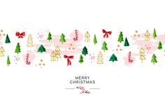 Het vector artistieke naadloze pakketontwerp voor Nieuwjaar en Vrolijke Kerstmis stellen & de materiaaldecoratie met de spar van  stock illustratie