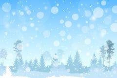 Het vector beboste landschap van de winterkerstmis in blauwe kleur met sneeuwvaleffect stock illustratie