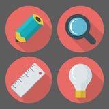 Het vector bedrijfsconcept, infographic ontwerpelementen in vlakte root Stock Foto's