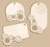 Het vector beige van Prijskaartjes met bloemenpatronen Stock Fotografie