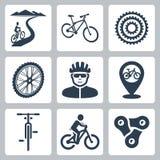 Het vector bicycling, het cirkelen geplaatste pictogrammen Royalty-vrije Stock Fotografie