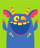 Het vector blauwe en gehoornde monster van Halloween met grote tanden en geopende mond wijd geïsoleerd vector illustratie