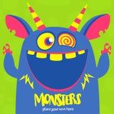 Het vector blauwe en gehoornde monster van Halloween met grote tanden en geopende mond wijd geïsoleerd royalty-vrije illustratie