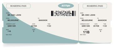 Het vector blauwe moderne kaartje van de luchtvaartlijn instapkaart stock illustratie