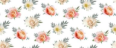 Het vector bloemen naadloze patroon, backgorund ontwerpt: tuin roze p vector illustratie