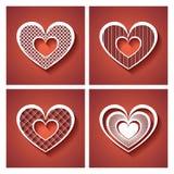 Het vector Bloemenhart van Deco op Rode Achtergrond Stock Foto's