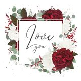 Het vector bloemenontwerp van de groetkaart met rode en witte tuin ros stock illustratie