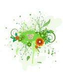 Het vector bloemenontwerp van Grunge. Stock Foto