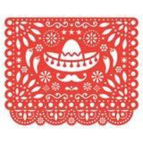 Het vector bloemenontwerp van Papelpicado met sombrero en Spaanse peperpeper, Mexicaans document decoratiemalplaatje in oranje, t stock illustratie