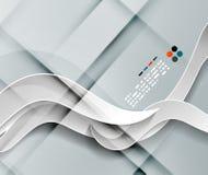 Het vector 3d document ontwerp van golflijnen Stock Fotografie
